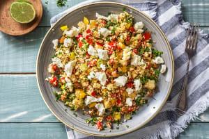 Salade de couscous épicée et chèvre frais image