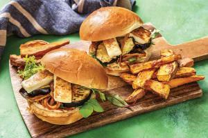 Haloumi, Eggplant & Hummus Burger image