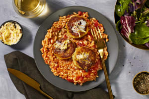 Crab Cakes over Risotto Fra Diavolo image