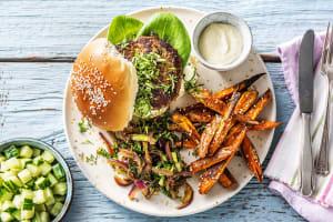 Hamburger épicé à l'asiatique image