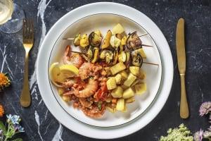 Griekse garnalen met groenten-souvlaki image