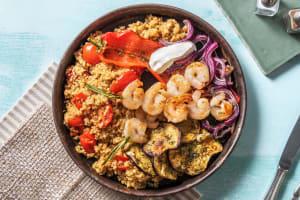 Brochettes de crevettes et salade de boulgour à la méditerranéenne image