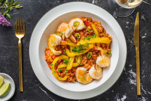 Tomatenrisotto met grote garnalen image