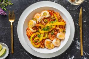 Risotto à la tomate et aux crevettes géantes image