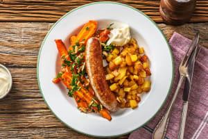 Saucisse de porc au paprika et aux amandes et patatas bravas image