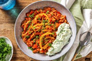 Orzo à la grecque : poulet haché et poivrons image