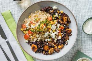 Peruviaanse rijstschotel met zoete aardappel en feta image