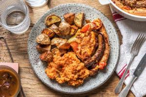 Saucisse de sanglier et de bœuf, Yorkshire pudding et jus de viande image