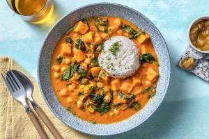 Curry de pois chiches aux cubes de tomates et patates douces image