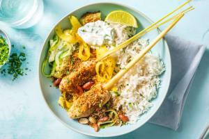 Brochettes de poulet et riz au lait de coco image