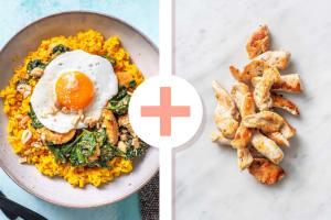 Gele rijst met kip als extra en spinazie-kokoscurry image