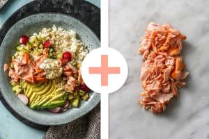 Sushibowl accompagné d'une double portion de miettes de saumon fumé et d'une mayonnaise au gingembre image