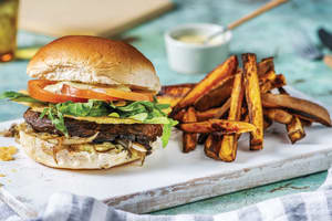 Rosemary Mushroom Burger & Fries image