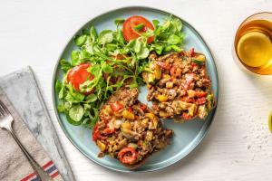 Petit pain à la viande hachée et légumes à l'italienne image