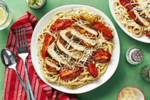Chicken over Garlic Parmesan Spaghetti image
