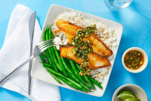 Tilapia with Scallion Sriracha Pesto image
