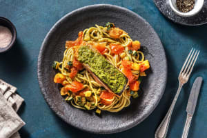 Filet de saumon et spaghetti au pesto image