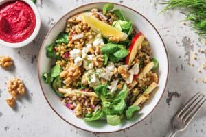 Salade de couscous perlé et de lentilles à la crème de betterave rouge image