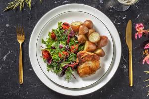 Cuisse poulet confite et pommes de terre Roseval légèrement citronnées image