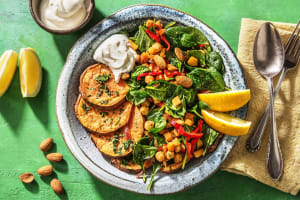 Zoete aardappel met spinazie en frisse labne image