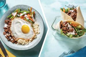 Beef Bibimbap Rice Bowl & Fried Eggs for Dinner image