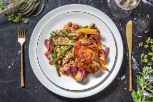 Cuisse de poulet préparée avec une sauce à l'orange sanguine image
