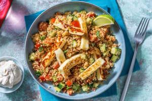 Salade de couscous et frites de halloumi image