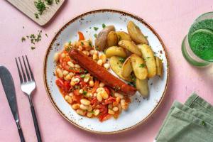 Merguez de bœuf et mijoté de tomates et haricots épicés image