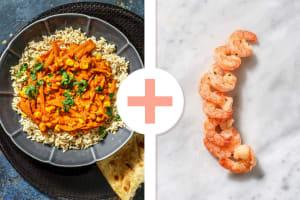 Curry à l'indienne au fenouil et au maïs avec des crevettes en extra image