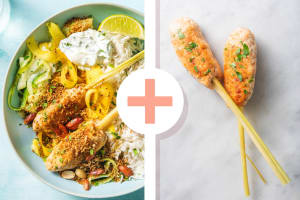 Double portion de poulet sur brochettes de citronnelle et riz au lait de coco image