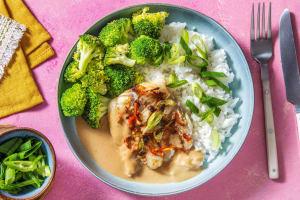 Seelachsfilet mit Miso-Erdnuss-Soße image