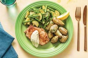 Pork Loin with Garlic Butter Potatoes & Greens image