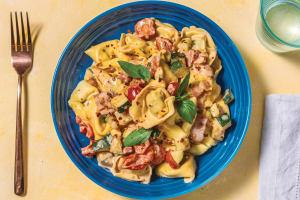 Creamy Bacon Tortellini Primavera with Spinach image