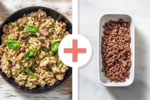 Risotto d'orzo aux champignons et bœuf haché en extra image