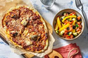 Naanpizza met tonijn en olijven image