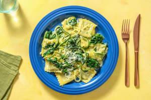Romige ravioli met spinazie en dragon image