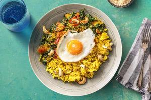 Curry d'épinards à la noix de coco et riz jaune image