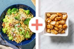 Veggie + Protein - Linguine crémeuses et dés de filet de poulet en extra image