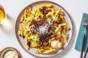 Kebab végétarien et frites au four image