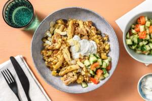 Couscous perlé du Moyen-Orient à l'émincé de cuisse de poulet image