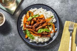 Biefstukreepjes met rijst en paksoi image