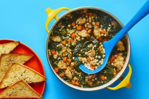 Chicken Sausage, Couscous & Kale Soup image