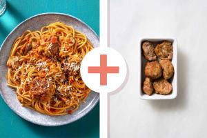 Snelle pasta met dubbele portie gehaktballen image