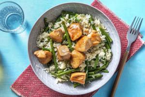 Poulet au gingembre en sauce pour wok et haricots verts image