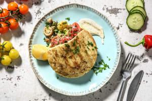 Pita et salade de pois chiches à la méditerranéenne image