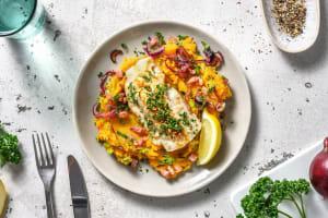 Cabillaud et purée de pommes de terre-patate douce, lardons image