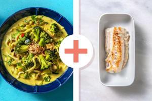 Soupe de nouilles au curry et filet de cabillaud en extra image