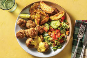 Caribbean Pork Rissoles with Wedges & Mango Mayonnaise image