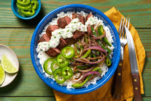 Creamy Cilantro Steak Bowls image