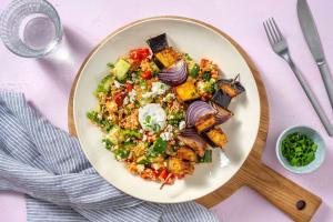 Honig-Harissa-Aubergine auf buntem Quinoa image